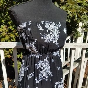Old Navy Black White Floral Strapless Dress Small